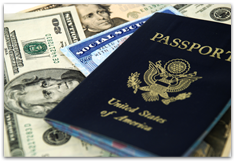 Passport, social security card, and money